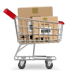 Supermarket cart with box vector