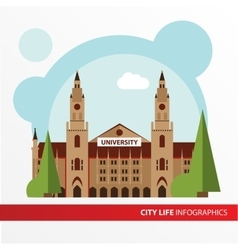 Univercity building icon in the flat style vector