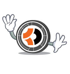 Waving bitcoin dark character cartoon vector