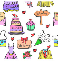 Wedding party doodle style vector
