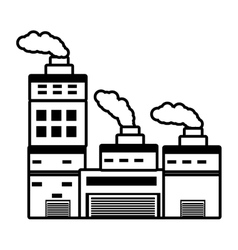 Building industry factory chimney outline vector