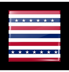 Stars and stripes flag glossy icon square shape vector