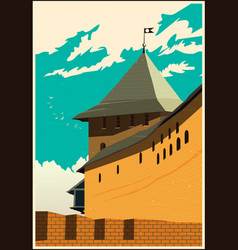Castle tower poster vector