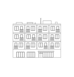 Apartment house line drawing vector