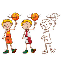 Drafting character for basketball player vector