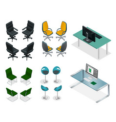 Isometric set of office chairs and tables easy vector