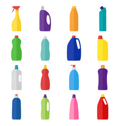 Set of bottles of cleaning products vector