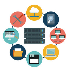 White background with rack server and icons vector