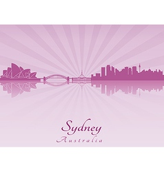 Sydney skyline in purple radiant orchid vector image