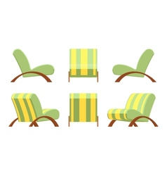 Armchair with wooden armsets and striped vector
