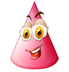 Pink cone with face vector