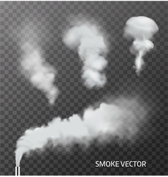 Set of realistic transparent smoke steam vector