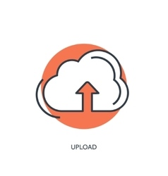 Flat lined cloud computing icon data storage vector