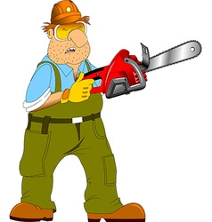 Worker with an electric saw vector