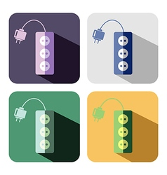 Set of colorful icons of power strip vector