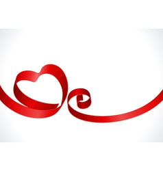 Red heart from ribbon vector