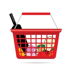 Shopping basket with product vector