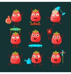 Tomato cartoon character set vector