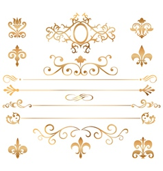 Set of golden patterns and vignette vector image