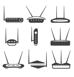 Simple router icons set design template vector