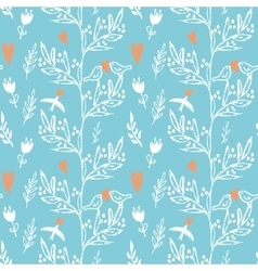Blue seamless pattern with weed flowers and birds vector
