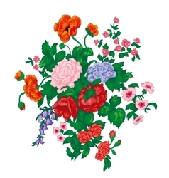 Bouquet with red rose poppies and wild flowers vector
