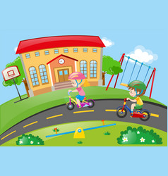 Boy and girl riding bike in the park vector