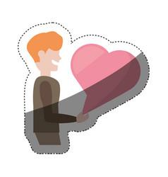 Cartoon man with bubble heart speak shadow vector