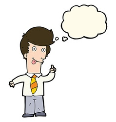 Cartoon office man with crazy idea with thought vector