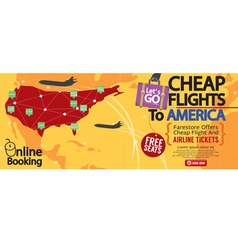 Cheap flight to america 1500x600 banner vector