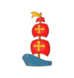 Columbus ship icon cartoon style vector image