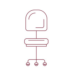 Dark red line contour of office chair front view vector
