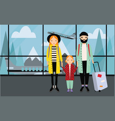 family at airport trendy young couple with baby vector image vector image