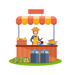 farmer at counter sells vegetables and food vector image