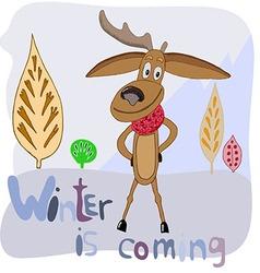 Funny deer in the scarf vector