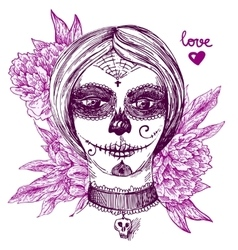 girl with day of the dead make up vector image vector image