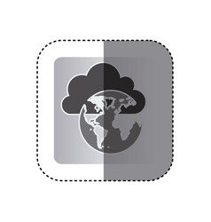 gray cloud data global network icon vector image
