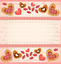 Greeting Valentines Card with Sweet Hearts vector image vector image