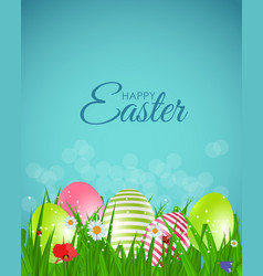 Happy easter natural background with eggs grass vector