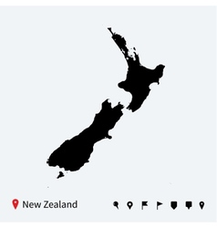 High detailed map of new zealand with navigation vector