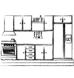 Monochrome sketch of kitchen cabinets with stove vector