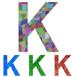 Mosaic font design - letter k vector