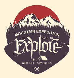 outdoor mountain expedition typography vector image