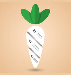 paper carrot infographic with green haulm vector image vector image