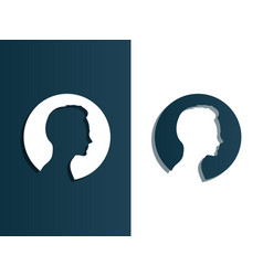 person silhouette head men - isolated vector image