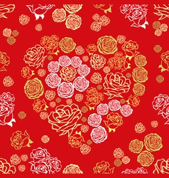 red seamless pattern with flower hearts vector image vector image