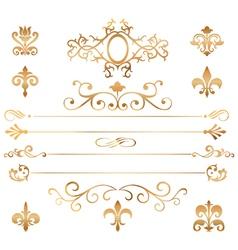 Set of golden patterns and vignette vector image vector image