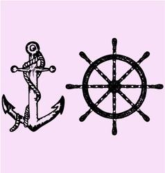 ships anchor wheel vector image