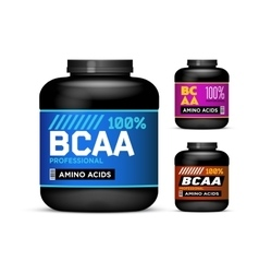 Sport nutrition containers branched-chain amino vector