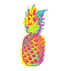 Summer pineapple art in colorful paint style vector image vector image